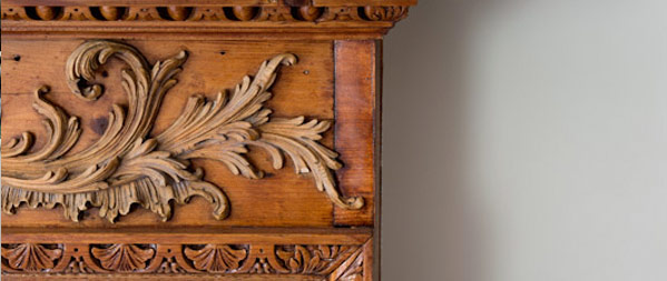 Handcarved detail on a fireplace